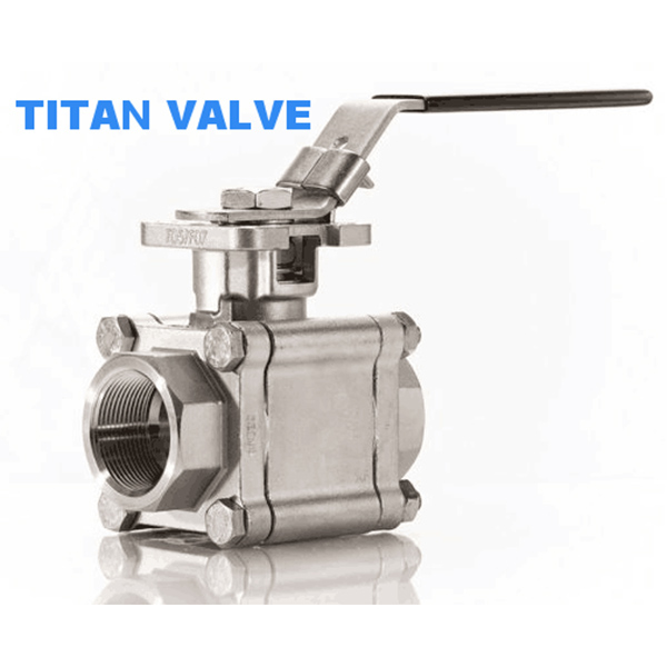Direct Mount Three Piece Ball Valve 2000Psi Stainless Steel Full Port